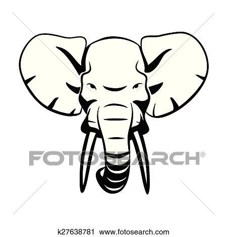 Clipart t te l phant k27638781 recherchez des clip - Tete elephant dessin ...