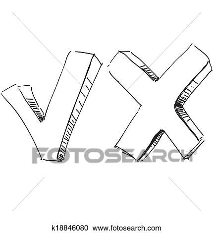 Clipart Of Yes And No Symbol Sketch Vector Illustration K18846080