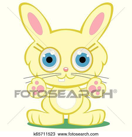 Cute Bunny Rabbit Retro Clipart Illustration Stock Vector (Royalty Free)  128233859