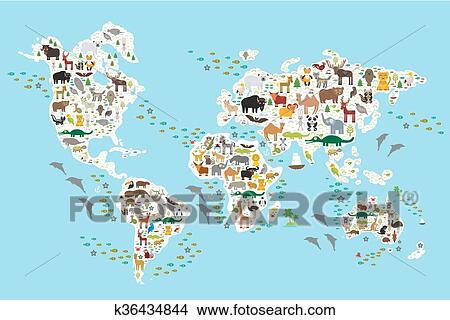 Clipart of cartoon animal world map for children and kids animals cartoon animal world map for children and kids animals from all over the world white continents and islands on blue background of ocean and sea gumiabroncs