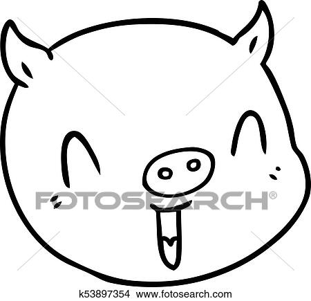 Clipart Of Cartoon Pig Face K53897354 Search Clip Art