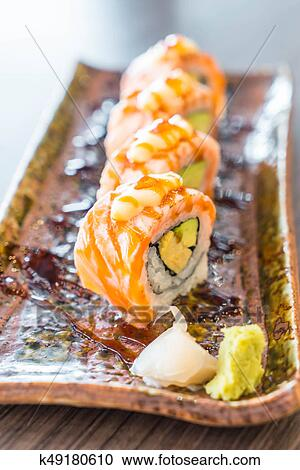 Grilled Salmon Sushi Roll Stock Image K49180610 Fotosearch