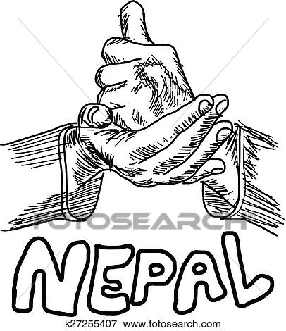 Clip Art Of Hand Sign For Help With The Word Nepal Under It
