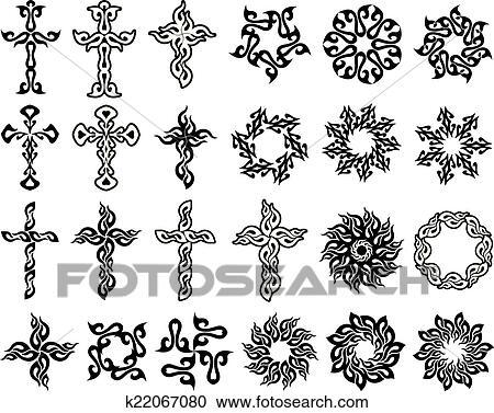 clipart tatouage croix soleil collection k22067080 recherchez des clip arts des. Black Bedroom Furniture Sets. Home Design Ideas