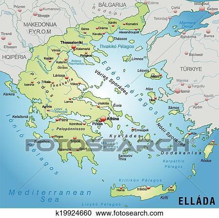 Karta Europa Grekland.Karta Av Grekland Clipart K19924660 Fotosearch