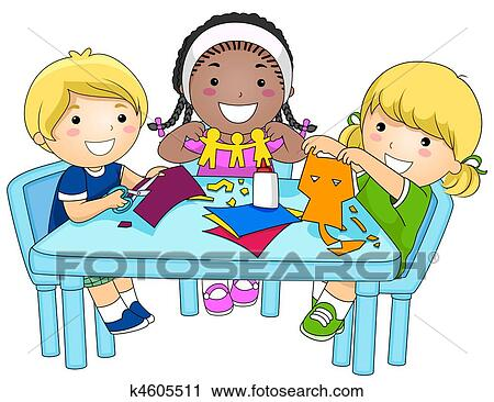 clipart of kids making paper cutouts k4605511 search clip art rh fotosearch com Goodbye Clip Art Coat Clip Art