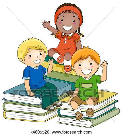 Bücherei clipart  Stock Illustrationen - kinder, mit, buecher k4605520 - Suche Clipart ...