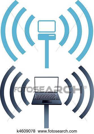 Clip Art - laptop, symbole, wifi, drahtloser computer, vernetzung ...
