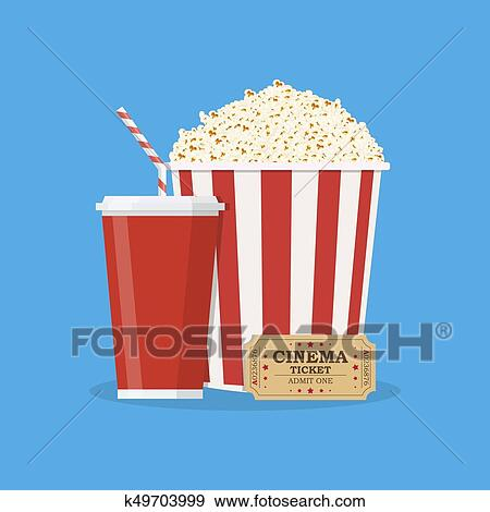 Popcorn With Cup Of Soda And Cinema Ticket Clip Art K49703999 Fotosearch