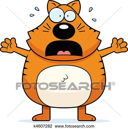 clipart of scared cat k4607282 search clip art illustration rh fotosearch com