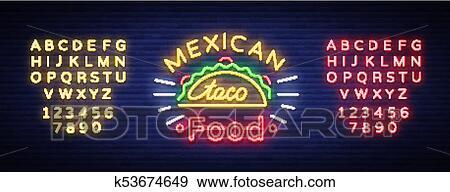 Clip Art Tacos Logotipo En Neón Style Letrero De Gas De Neón
