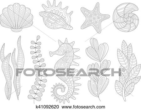 - Underwater Nature Set Adult Zentangle Coloring Book Illustration Clipart  K41092620 Fotosearch