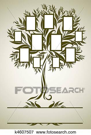 Clip Art - vector, árbol genealógico, diseño, con, marco k4607507 ...