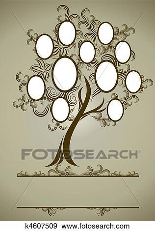 Clip Art Of Vector Family Tree Design With Frame K4607509