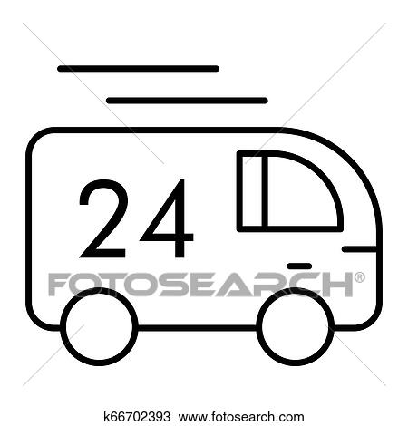 24 hour delivery thin line icon  Truck delivery vector illustration  isolated on white  Cargo deliver outline style design, designed for web and  app