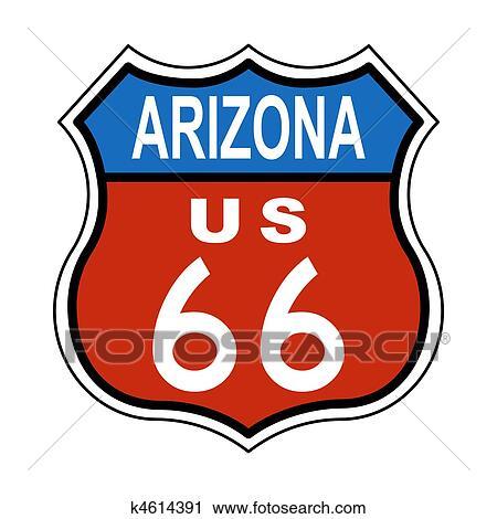 clipart of arizona route us 66 sign k4614391 search clip art rh fotosearch com arizona clipart heart arizona clipart b&w