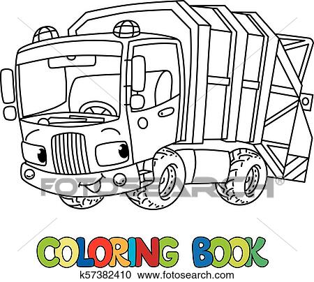 Funny garbage truck car with eyes. Coloring book Clipart