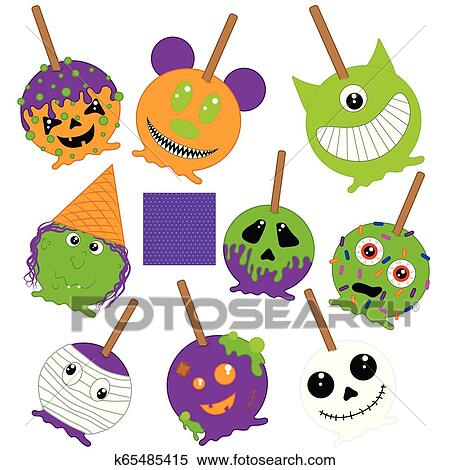 Halloween Caramel Apples Clipart K65485415 Fotosearch