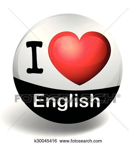 Clipart I Amor Inglês Ligado A Emblema K30045416 Busca De