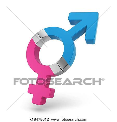 Stock Photo Of Male And Female Symbols As A Magnets Attached To Each