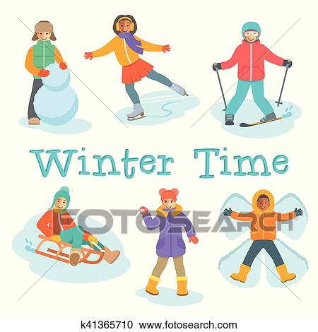 Clipart - niños, invierno, al aire libre, juegos, y, actividades ...