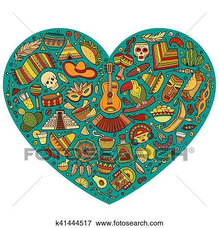 Clip Art Of Set Of Latin American Cartoon Doodle Objects K41444517