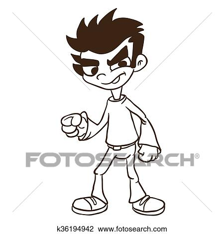 clipart of simple black and white boy standing k36194942 search