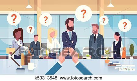 Capo Ufficio Disegno : Clip art uomo affari capo guardando suo squadra affari con