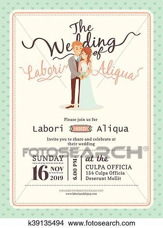 Wedding Couple Groom And Bride Cartoon Wedding Card Template