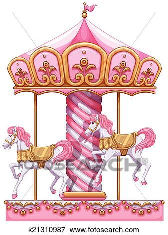 Carrousel Dessin clipart - a, carrousel, cavalcade k21310987 - recherchez des