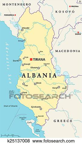 Albania Political Map Clip Art K25137008 Fotosearch