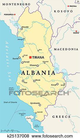 kart albania Clip Art of Albania Political Map k25137008   Search Clipart  kart albania