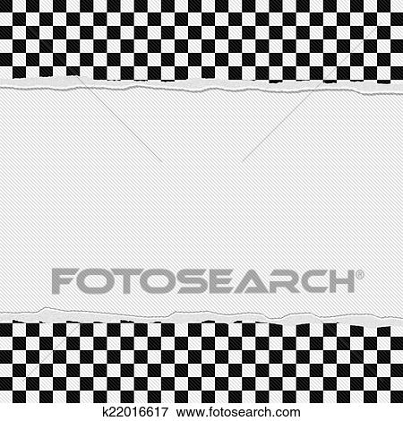 Picture Of Black And White Checkered Frame With Torn Background