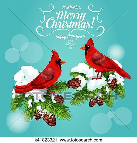 Christmas Cardinals Clipart.Christmas Card With Cardinal Bird On Pine Tree Clipart