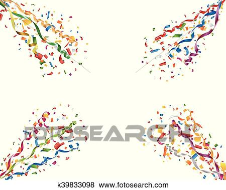 clip art of exploding party confetti and streamers k39833098