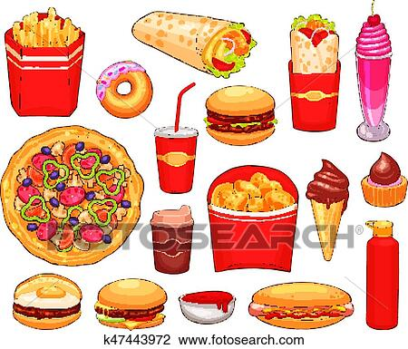 Fast Food Lunch With Sandwich Drink And Dessert Clipart K47443972