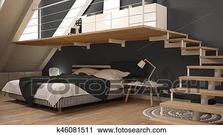 Banque Du0027Image   Grenier, Mezzanine, Scandinave, Minimaliste, Chambre à  Coucher