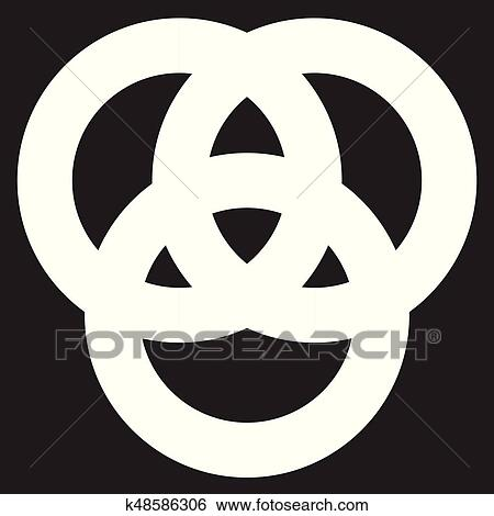 Clip Art Of Icon With 3 Interlocking Circles Rings Abstract Symbol