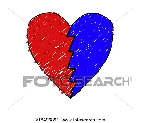 Mano Dibujado Corazón Roto Clip Art K18496891 Fotosearch