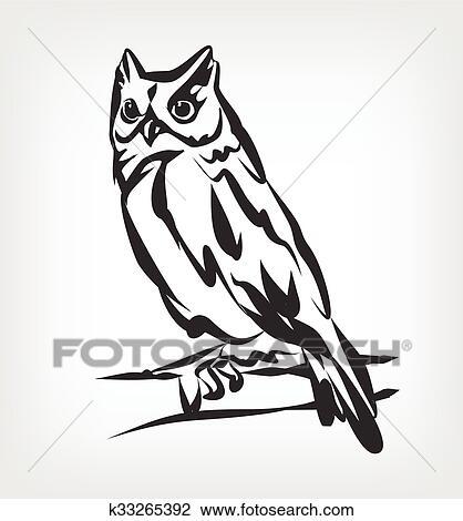 Owl vector black icon logo Clipart | k33265392 | Fotosearch