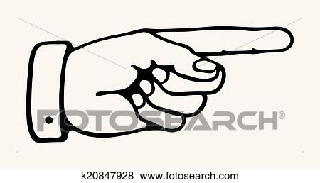 clip art of retro pointing hand k20847928 search clipart rh fotosearch com hand pointing up clipart hand pointing right clipart