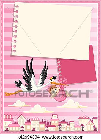 Stork Delivering A Newborn Baby Girl Clipart K42594394 Fotosearch