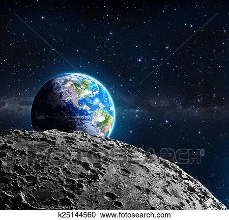 stock illustrations of views of earth from the moon k25144560