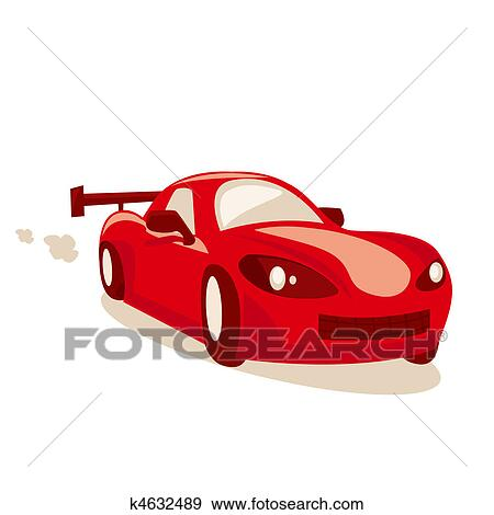 Dessin Anime Voiture Course Banque D Illustrations K4632489 Fotosearch