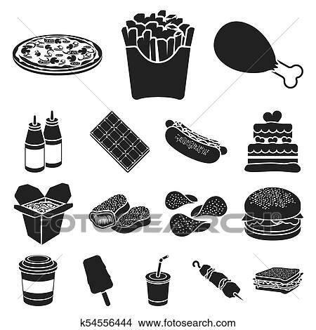 Drawings Of Fast Food Black Icons In Set Collection For Designod