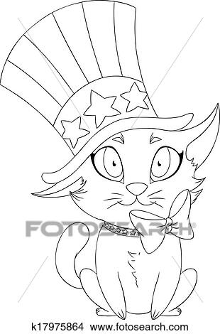 Clipart Of Independence Day Kitten Coloring Page K17975864 Search