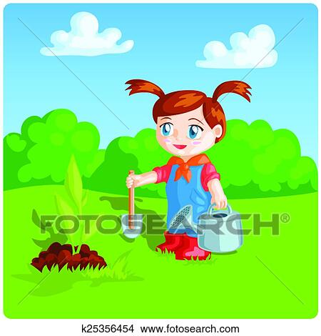 Prächtig Mädchen, machen, arbeiten garten arbeit Clipart | k25356454 @AH_73