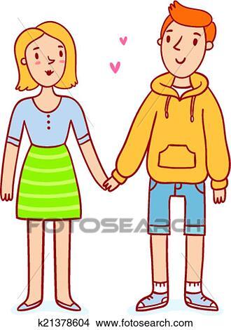 Clipart Mignon Couple Amoureux Tenant Mains Dessin Anime