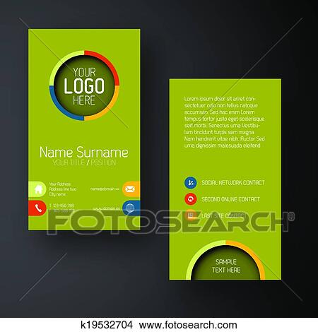 Clipart Of Modern Green Vertical Business Card Template With Flat