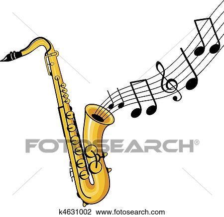 Clipart saxophone k4631002 recherchez des clip arts - Saxophone dessin ...